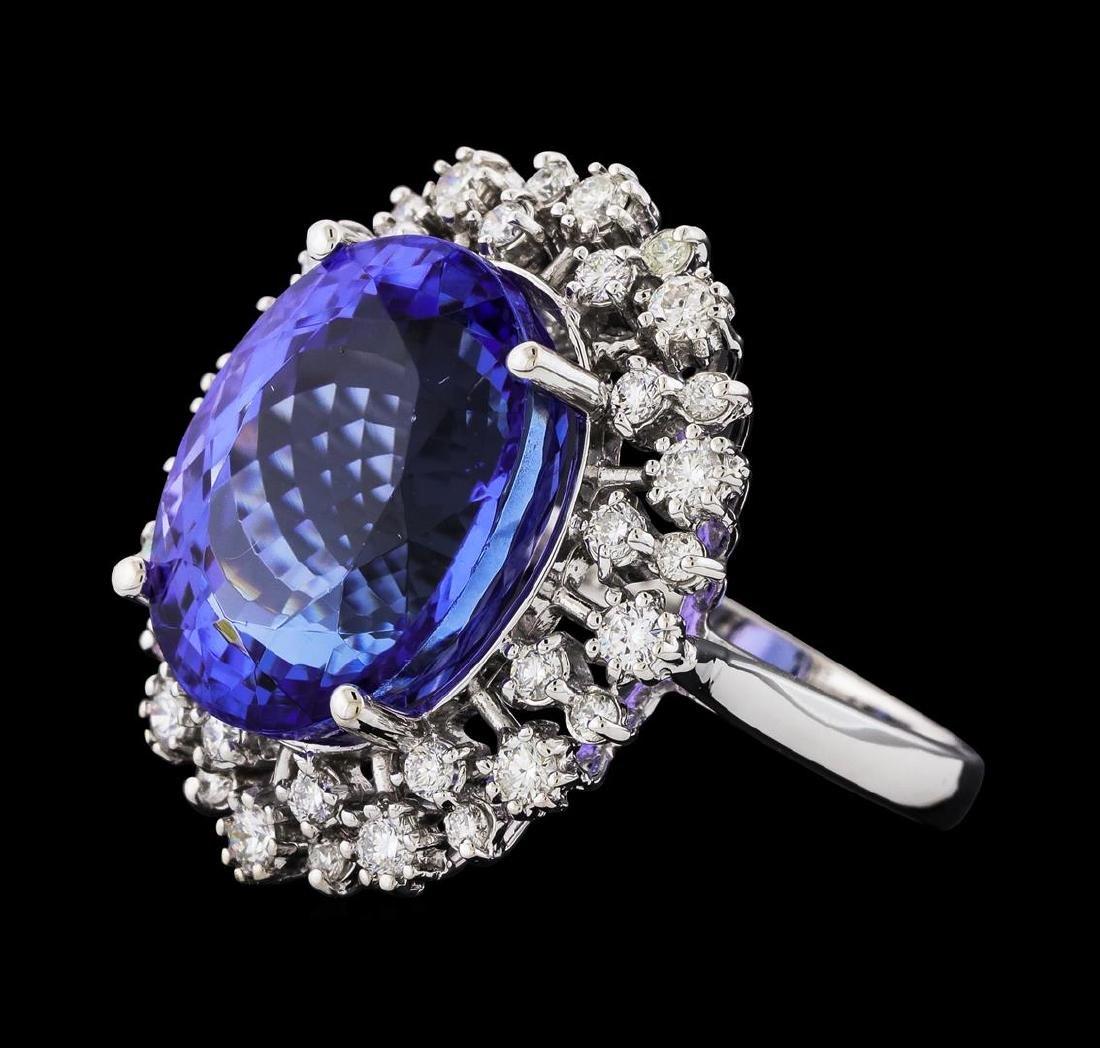 GIA Cert 16.52 ctw Tanzanite and Diamond Ring - 14KT