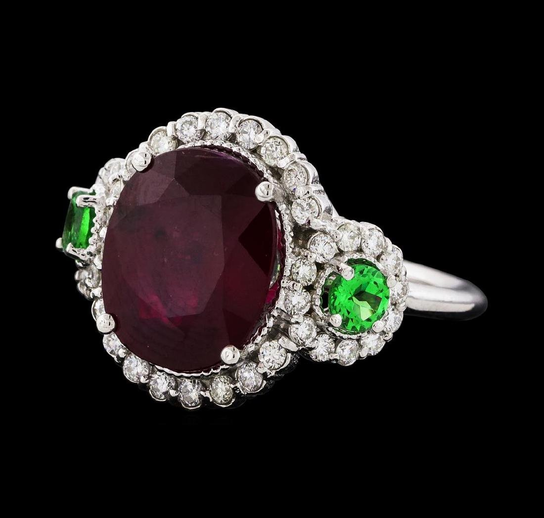 5.91 ctw Ruby, Tsavorite, and Diamond Ring - 14KT White