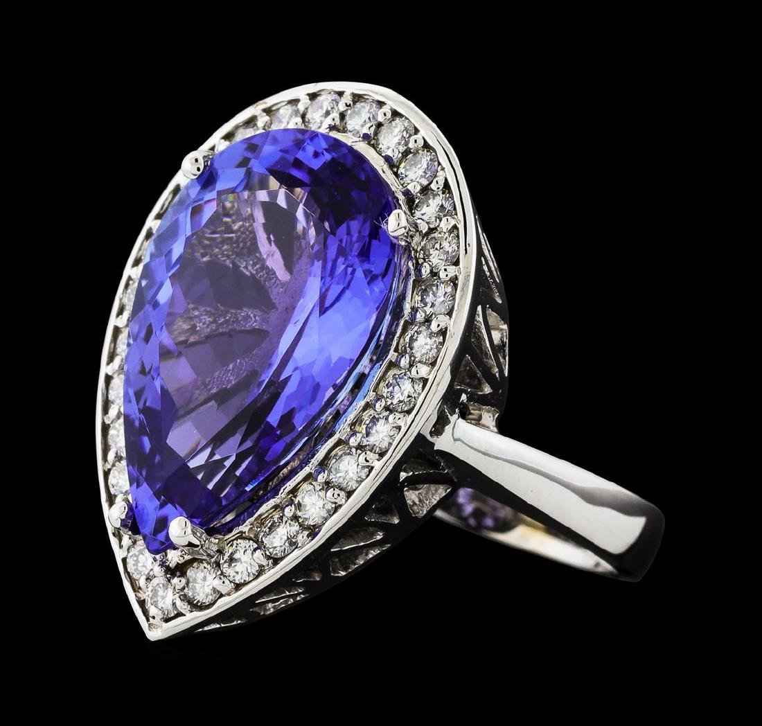 GIA Cert 11.93 ctw Tanzanite and Diamond Ring - 14KT