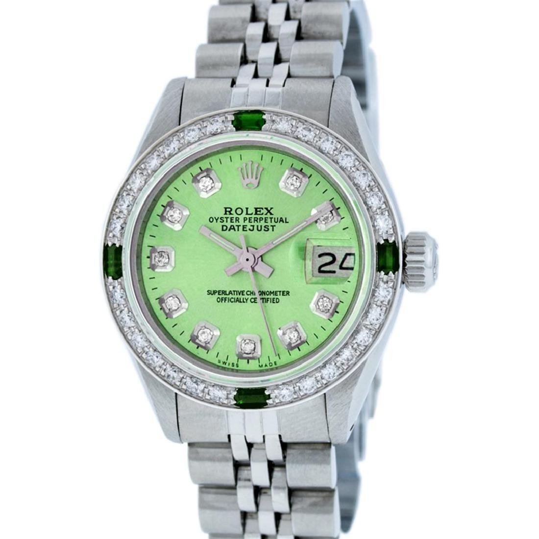 Rolex Stainless Steel Diamond and Emerald DateJust