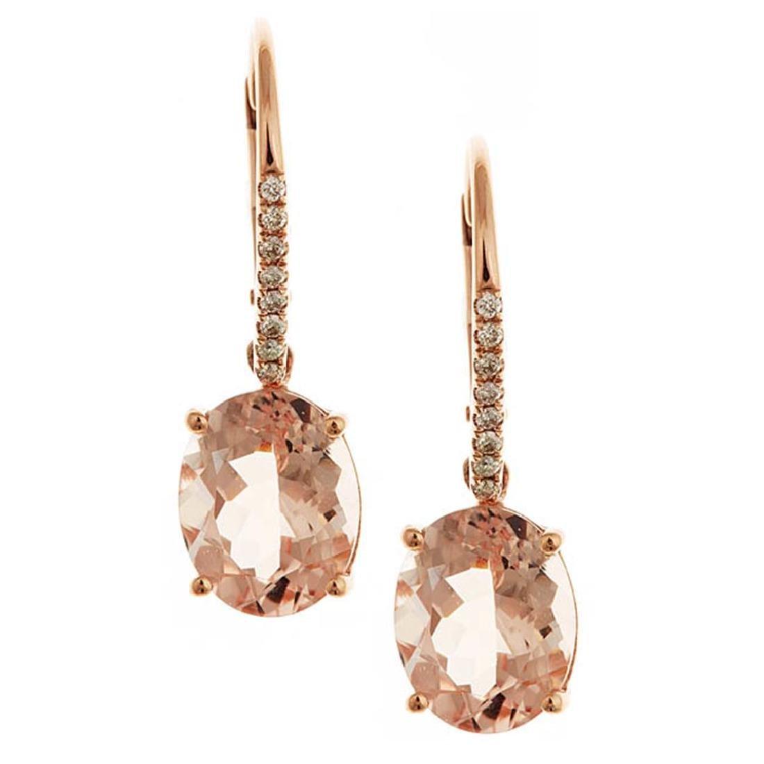4.5 ctw Morganite and Diamond Earrings - 14KT Rose Gold