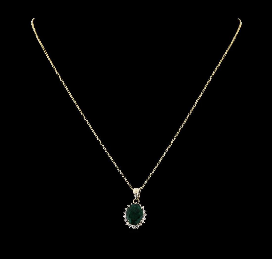 4.02 ctw Emerald and Diamond Pendant With Chain - 14KT