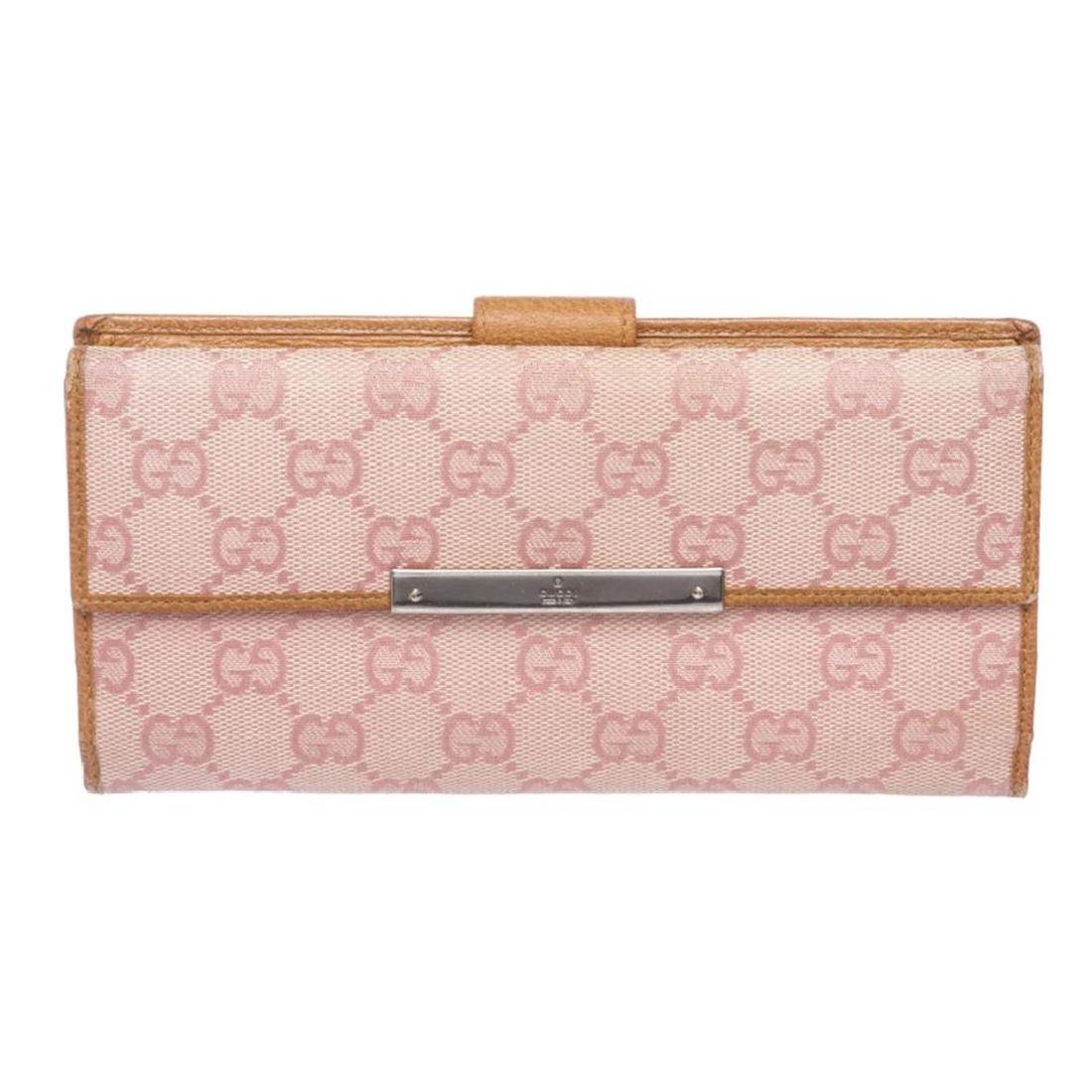 Gucci Pink Beige Canvas Leather Monogram Long Wallet