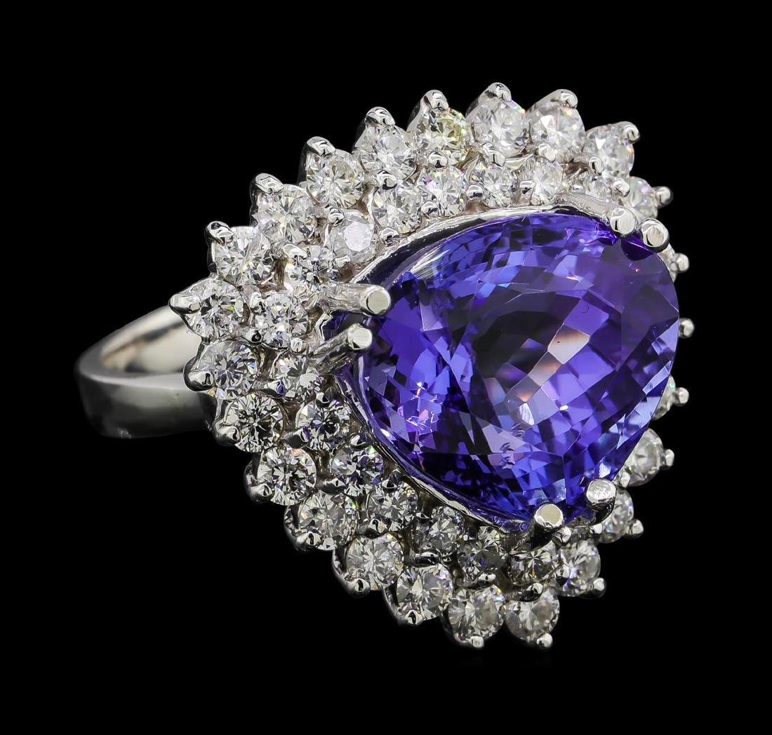 10.76 ctw Tanzanite and Diamond Ring - 14KT White Gold