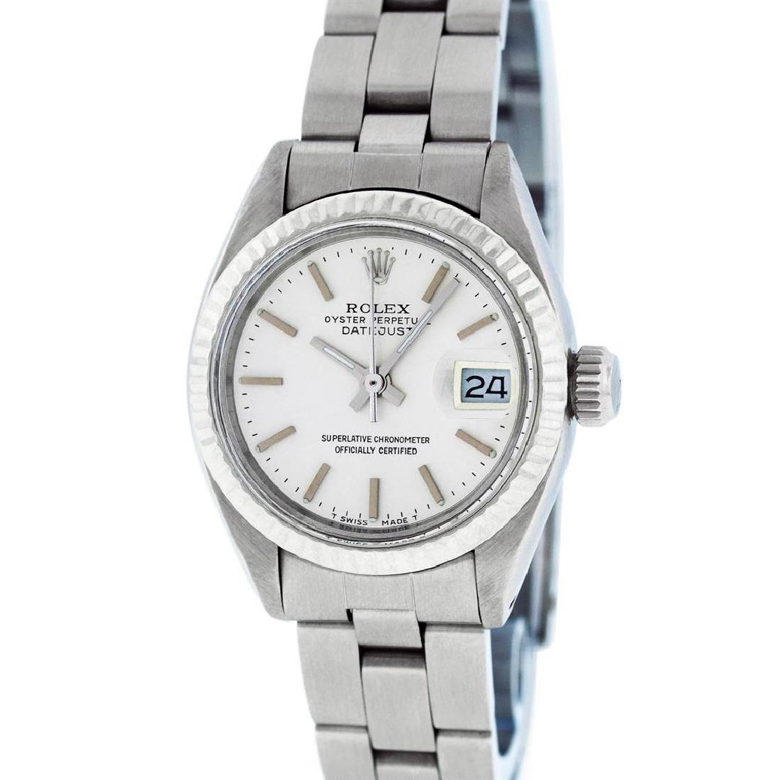 Rolex Ladies Stainless Steel Silver Index Fluted Bezel