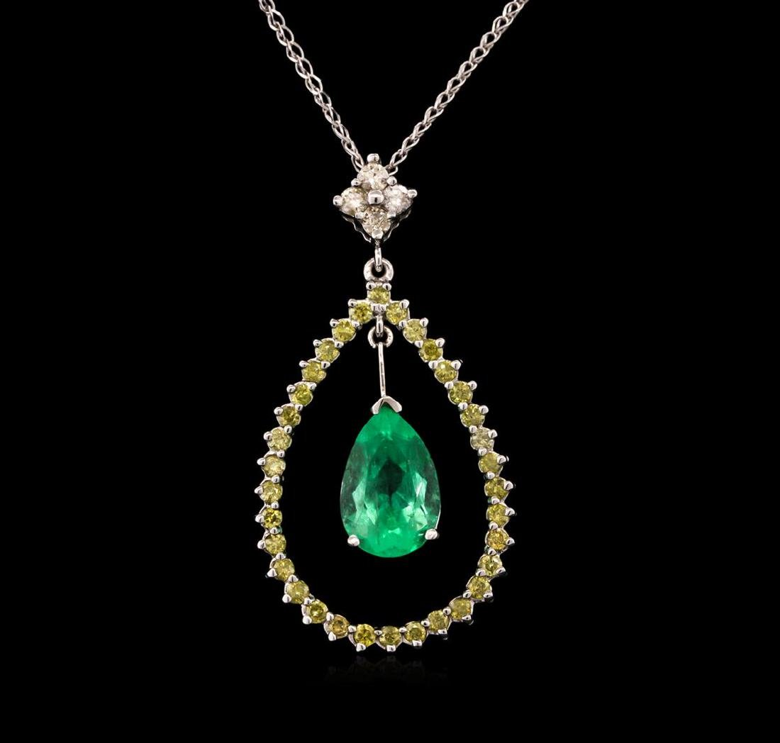 2.18 ctw Emerald and Diamond Pendant With Chain - 14KT