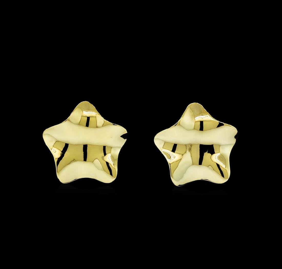 Glossy Star Shaped Post Earrings - Gold Plated