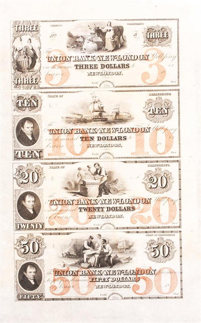 Union Bank of New London Connecticut Uncut Sheet of