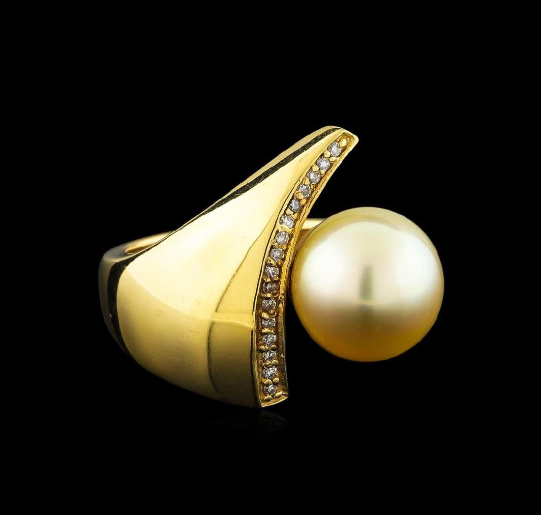 Pearl and Diamond Ring - 14KT Yellow Gold