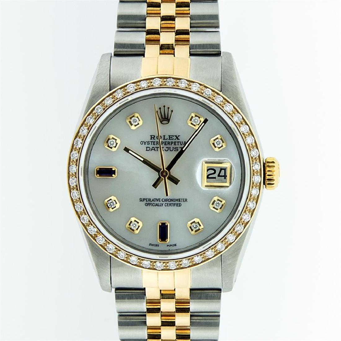 Rolex Two Tone Sapphire and Diamond DateJust Men's