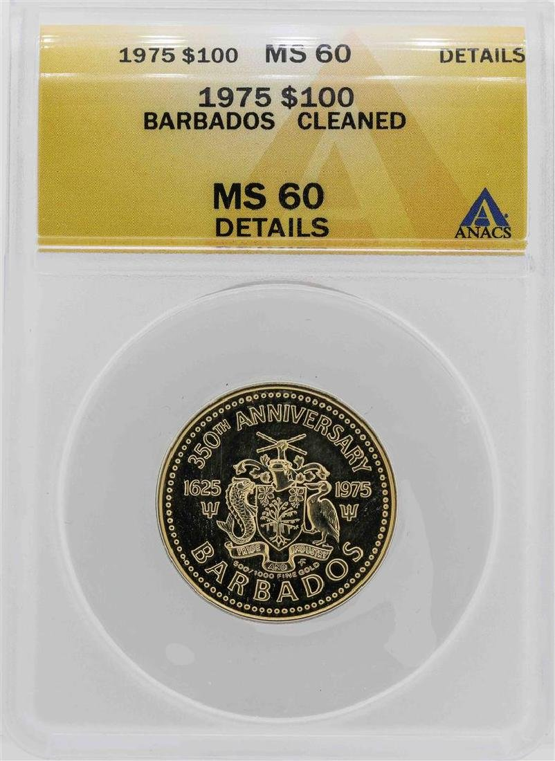 1975 Barbados 350th Anniversary $100 Gold Coin ANACS
