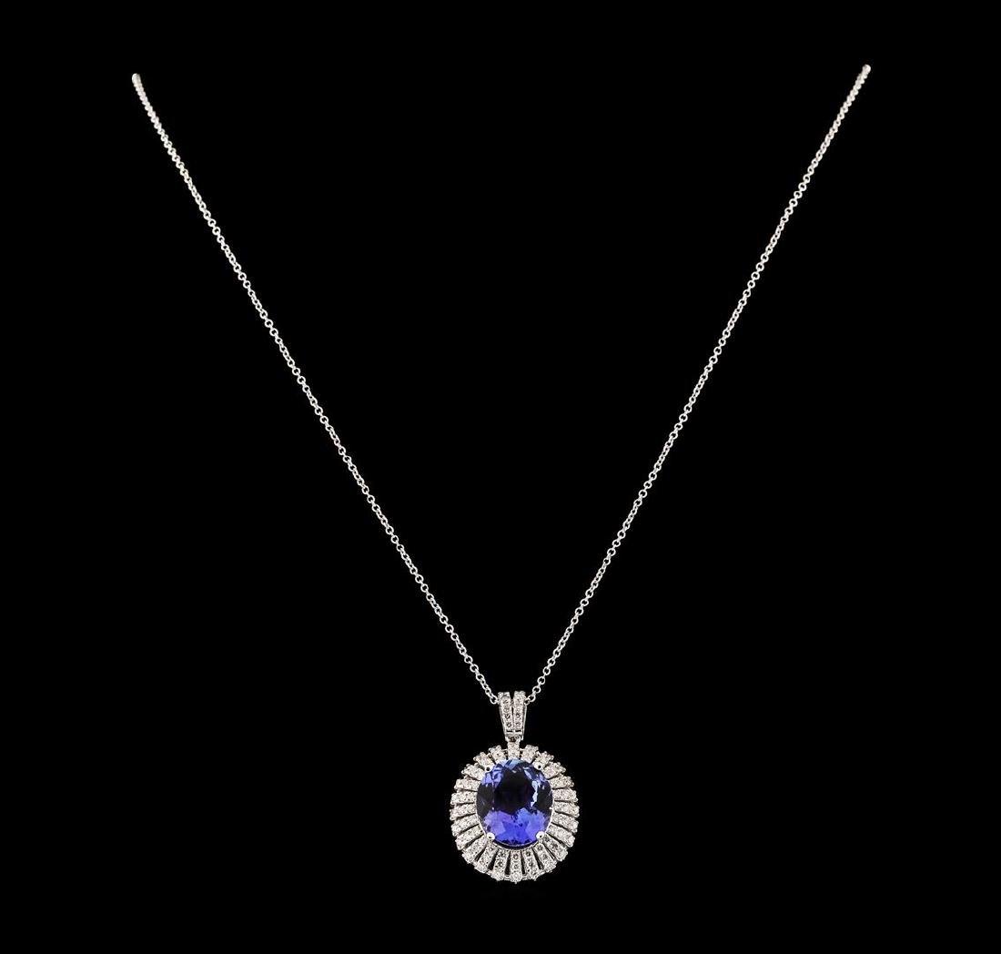 6.81 ctw Tanzanite and Diamond Pendant With Chain -