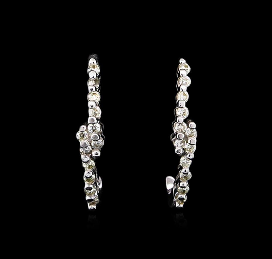 0.10 ctw Diamond Earrings - 14KT White Gold