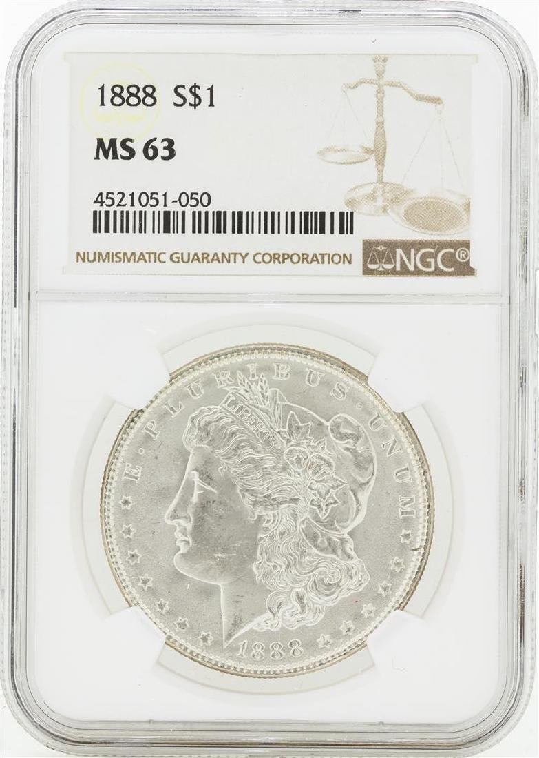 1888 MS63 NGC Morgan Silver Dollar