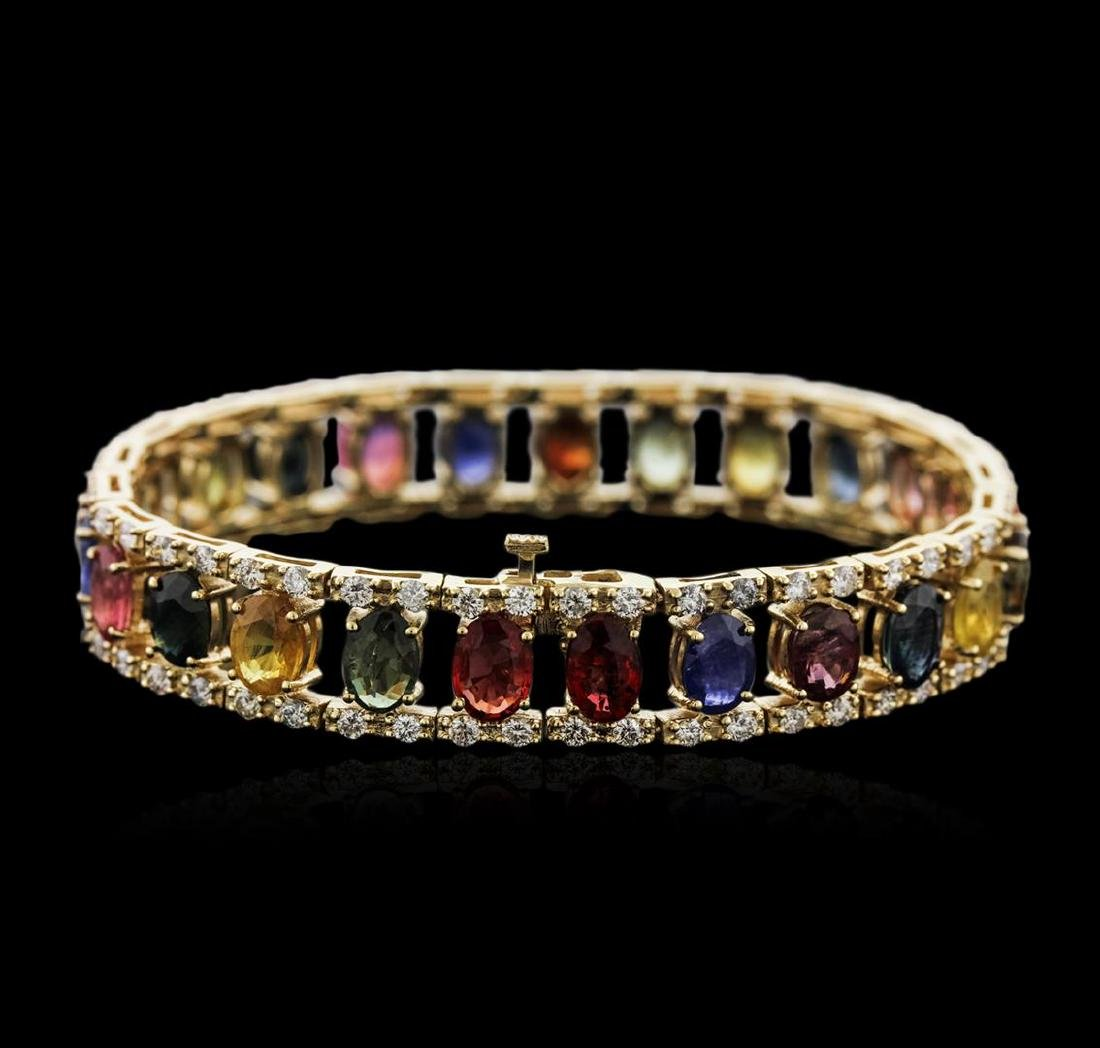 14KT Yellow Gold 23.25 ctw Sapphire and Diamond