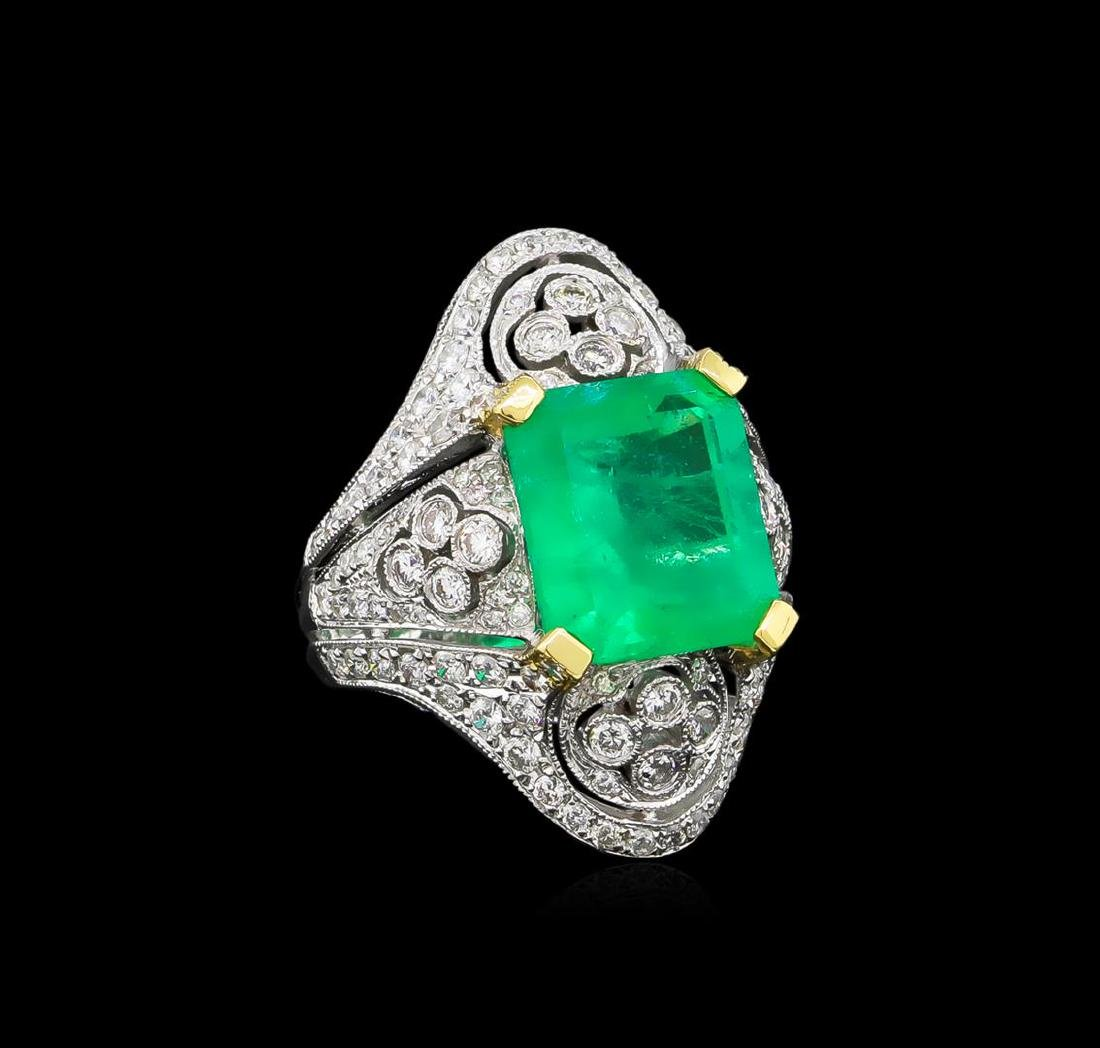 6.42 ctw Emerald and Diamond Ring - 18KT White Gold
