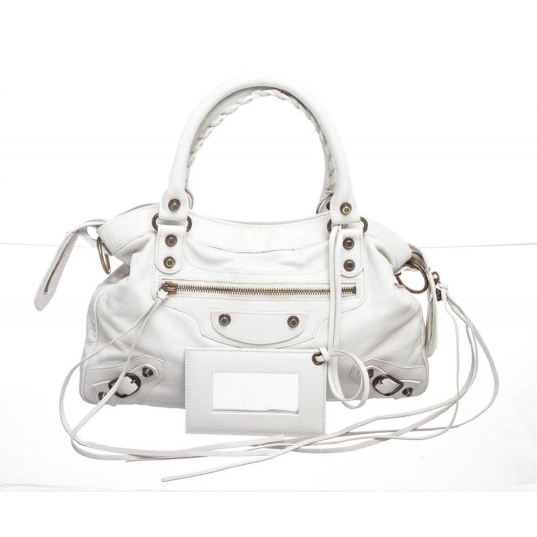 Balenciaga White Leather Classic Town Bag Satchel