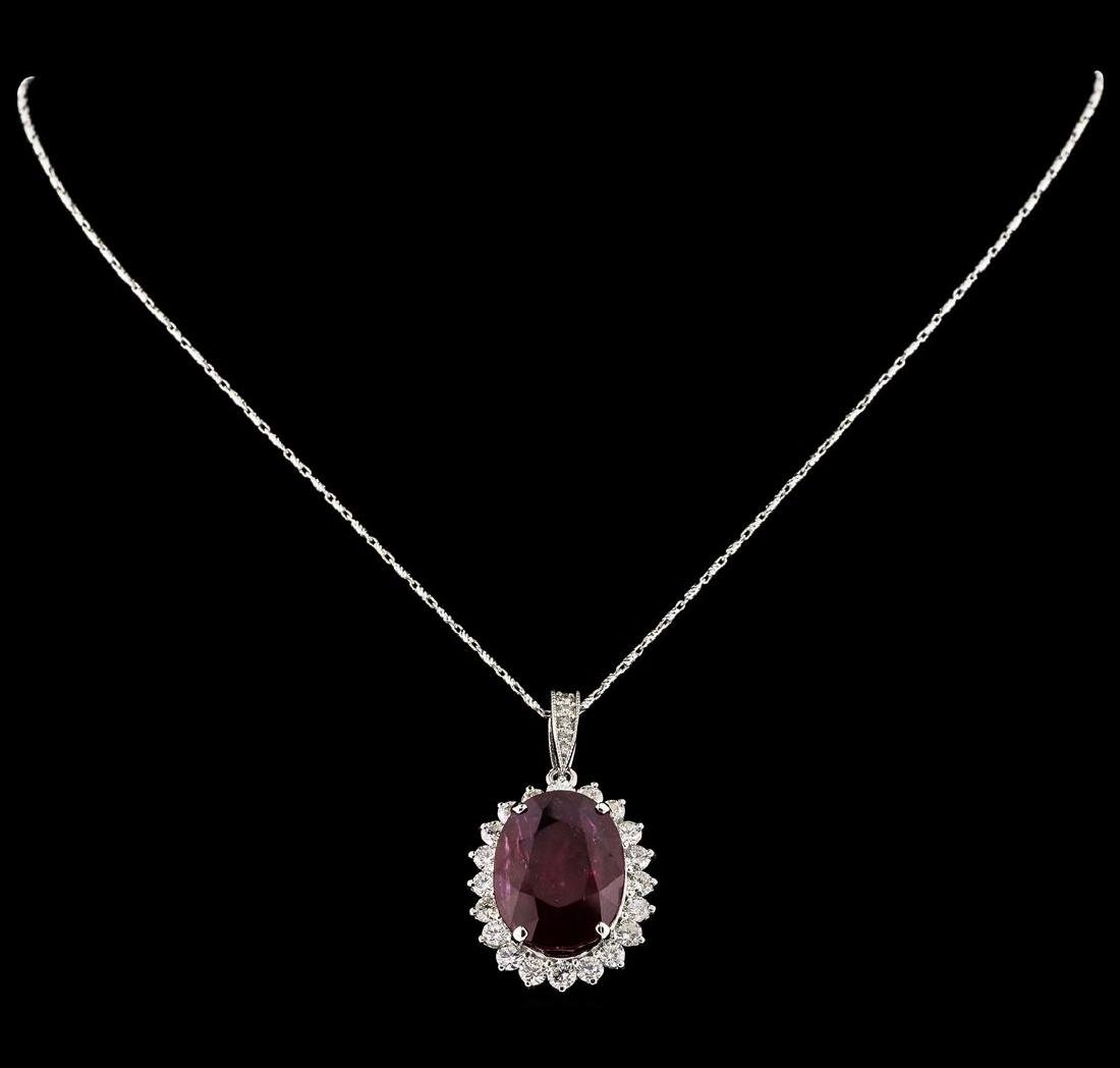 18.81 ctw Ruby and Diamond Pendant With Chain - 14KT