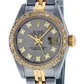 Rolex Ladies Two Tone Slate Grey VS Diamond Datejust