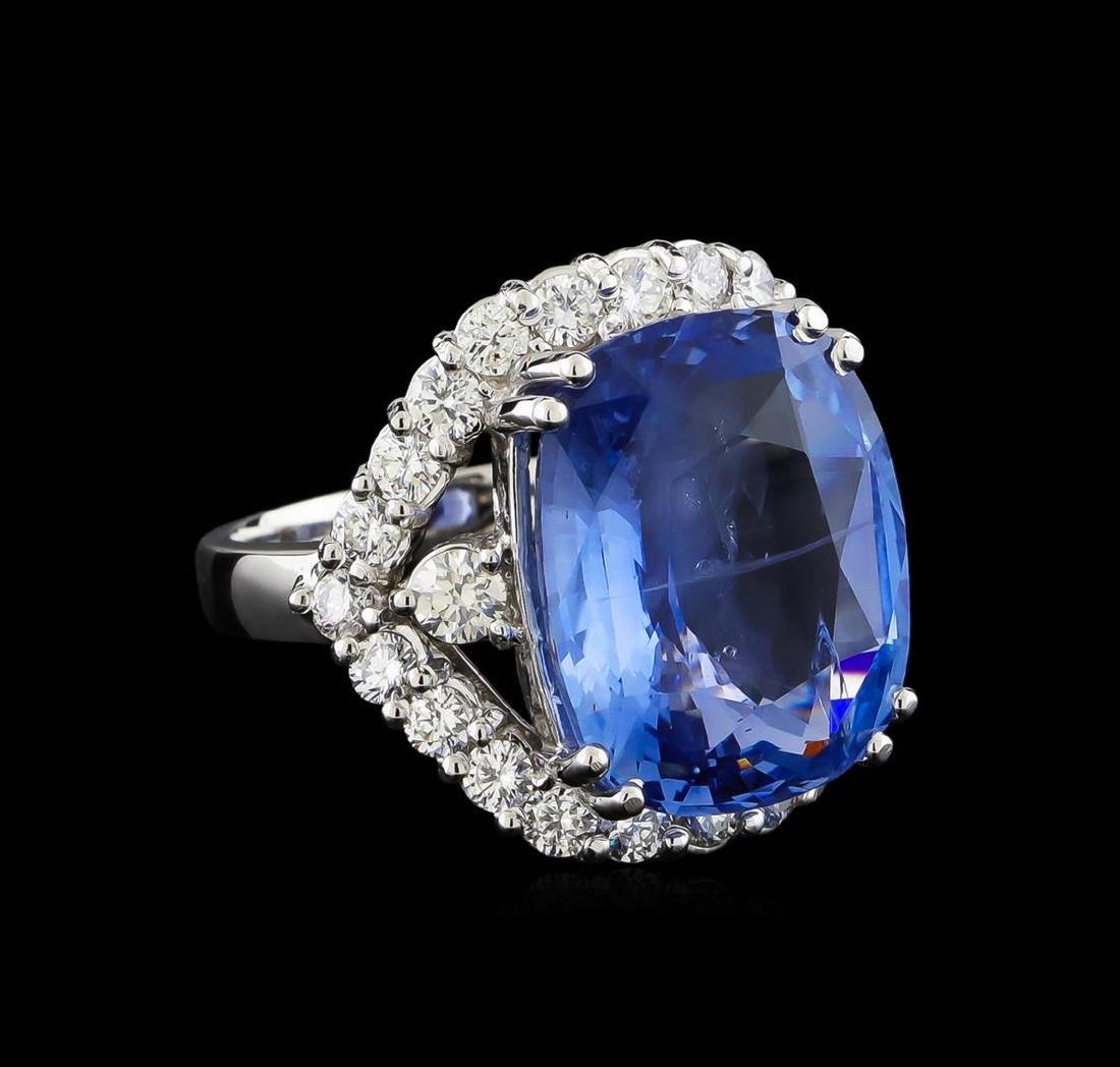 GIA Cert 17.78 ctw Blue Sapphire and Diamond Ring -