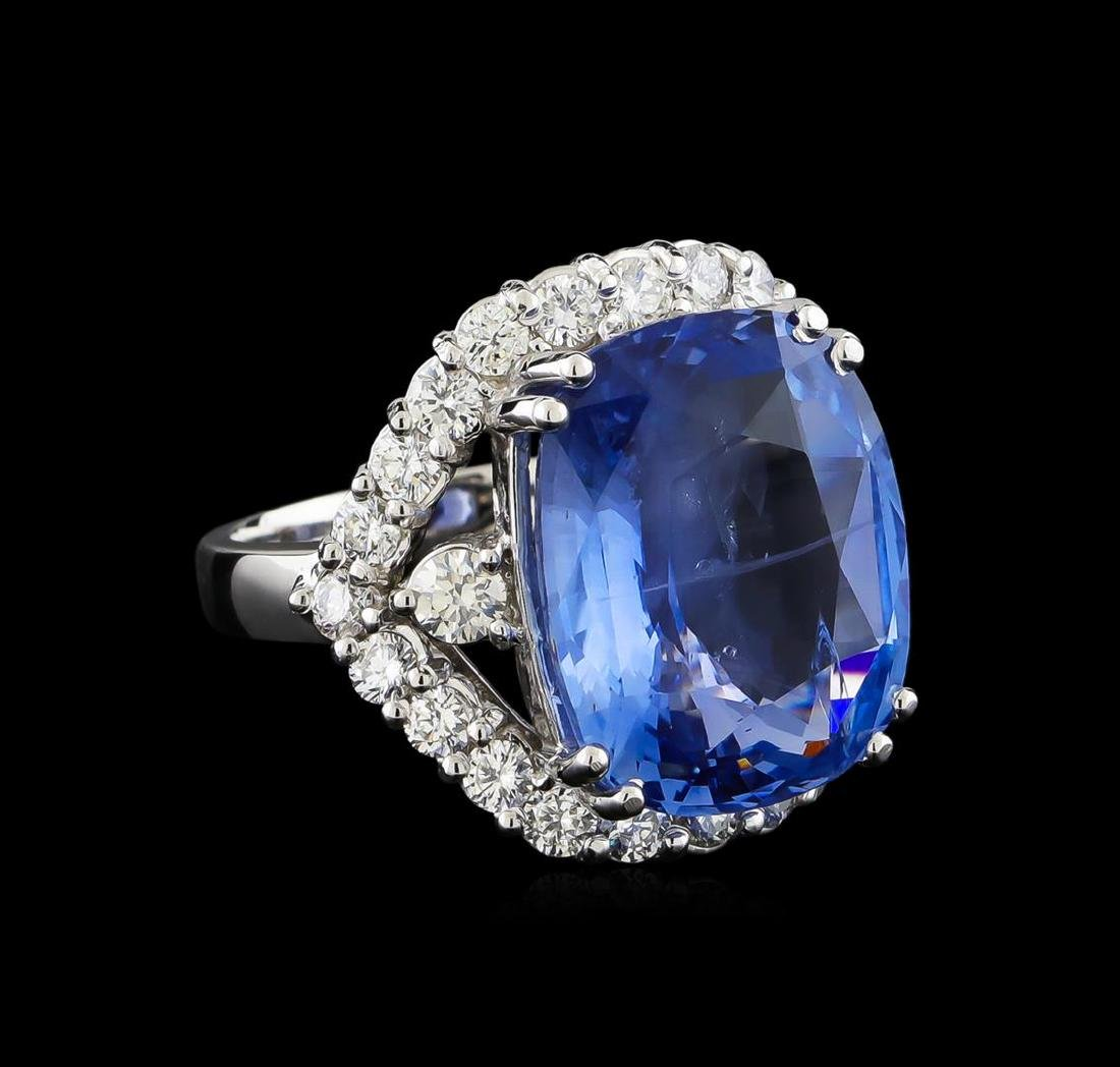 GIA Cert 17.78 ctw Blue Sapphire and Diamond Ring -