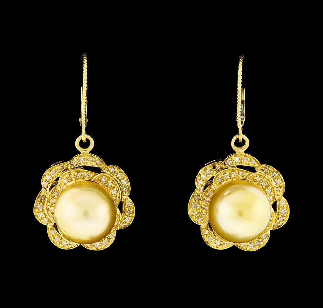 Pearl and Diamond Jewelry Suite - 14KT Yellow Gold With