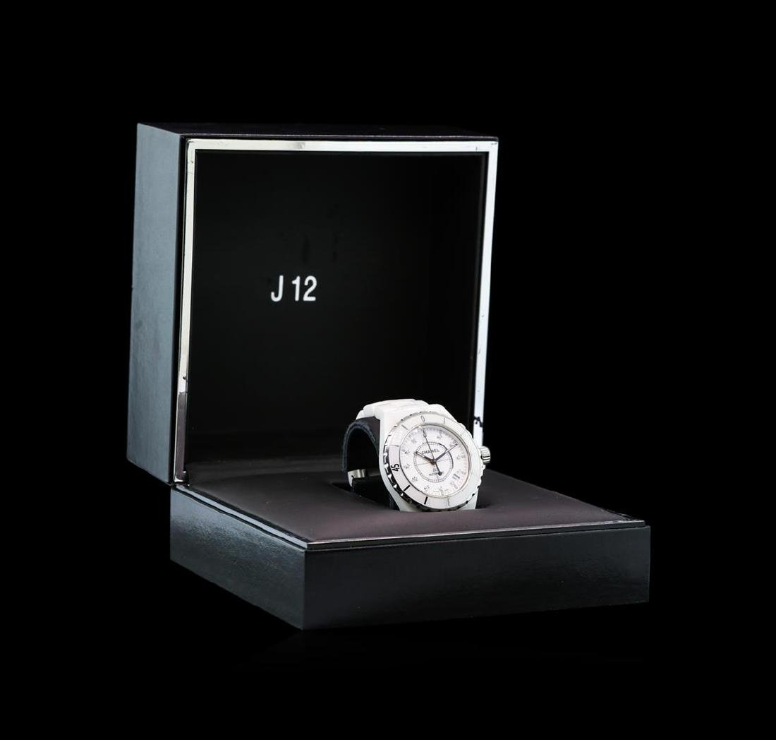 Chanel White Ceramic Diamond J12 Watch