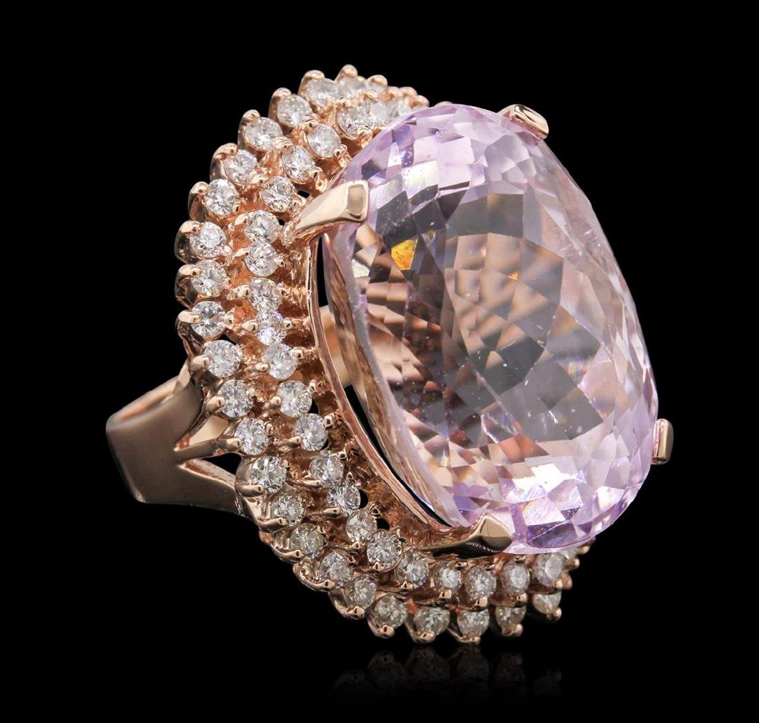 14KT Rose Gold 39.46 ctw GIA Certified Kunzite and