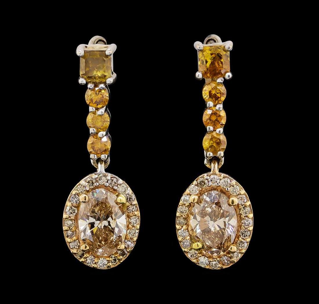 2.04 ctw Diamond Earrings - 14KT Rose and White Gold