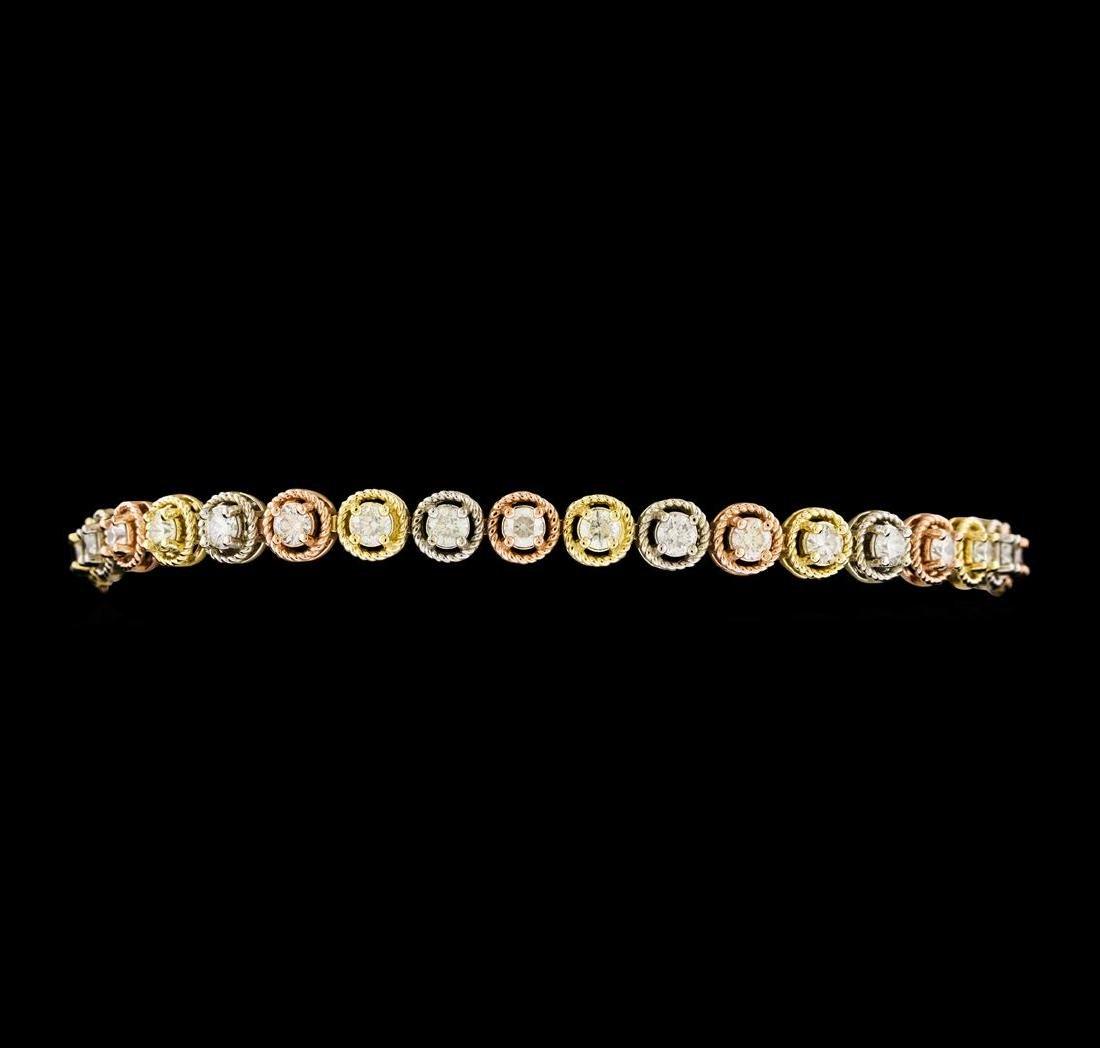 3.20 ctw Diamond Bracelet - 14KT Tri Color Gold