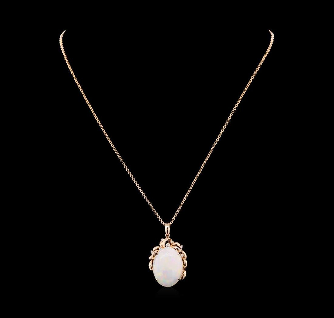 19.56 ctw Opal and Diamond Pendant With Chain - 14KT