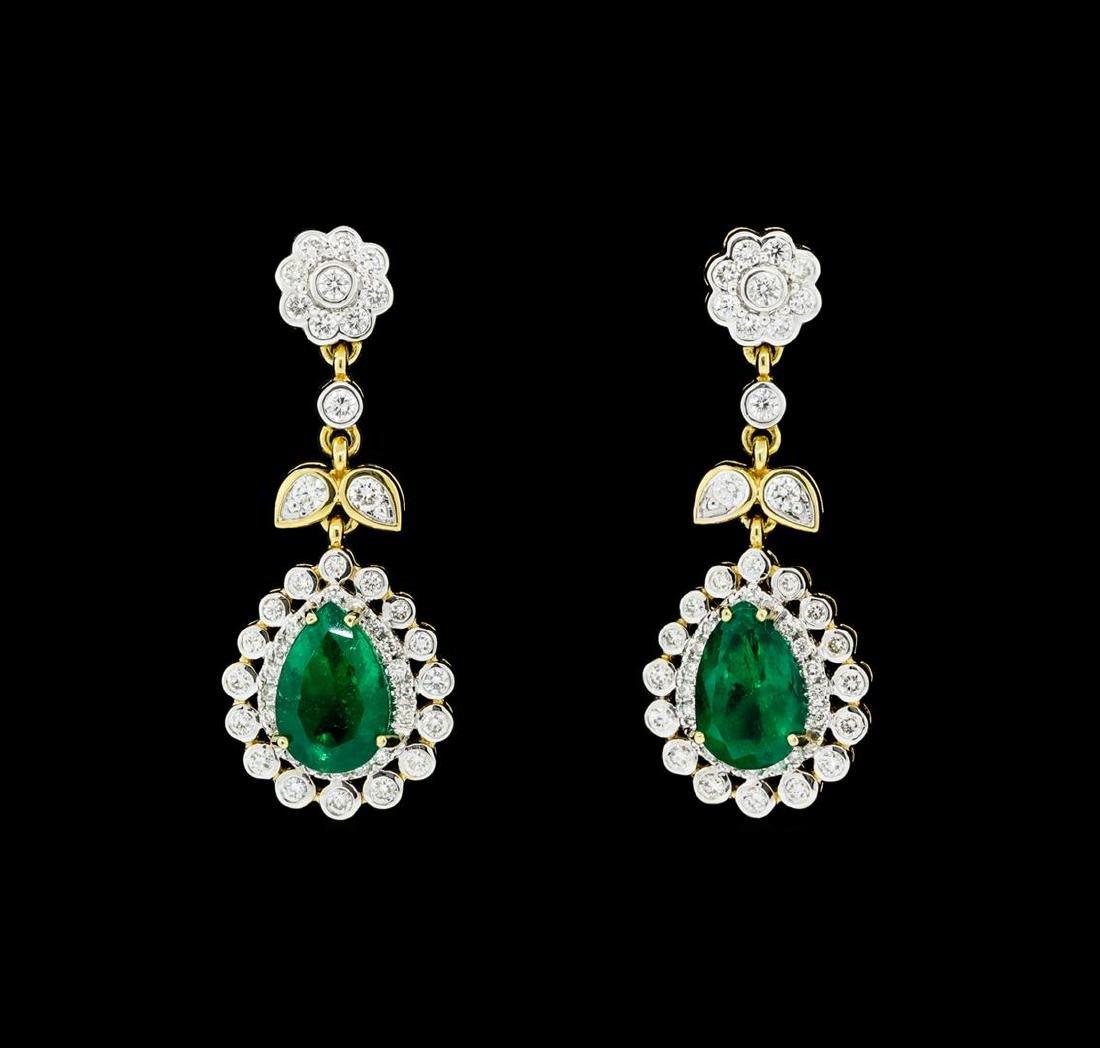 4.66 ctw Emerald And Diamond Earrings - 18KT Yellow