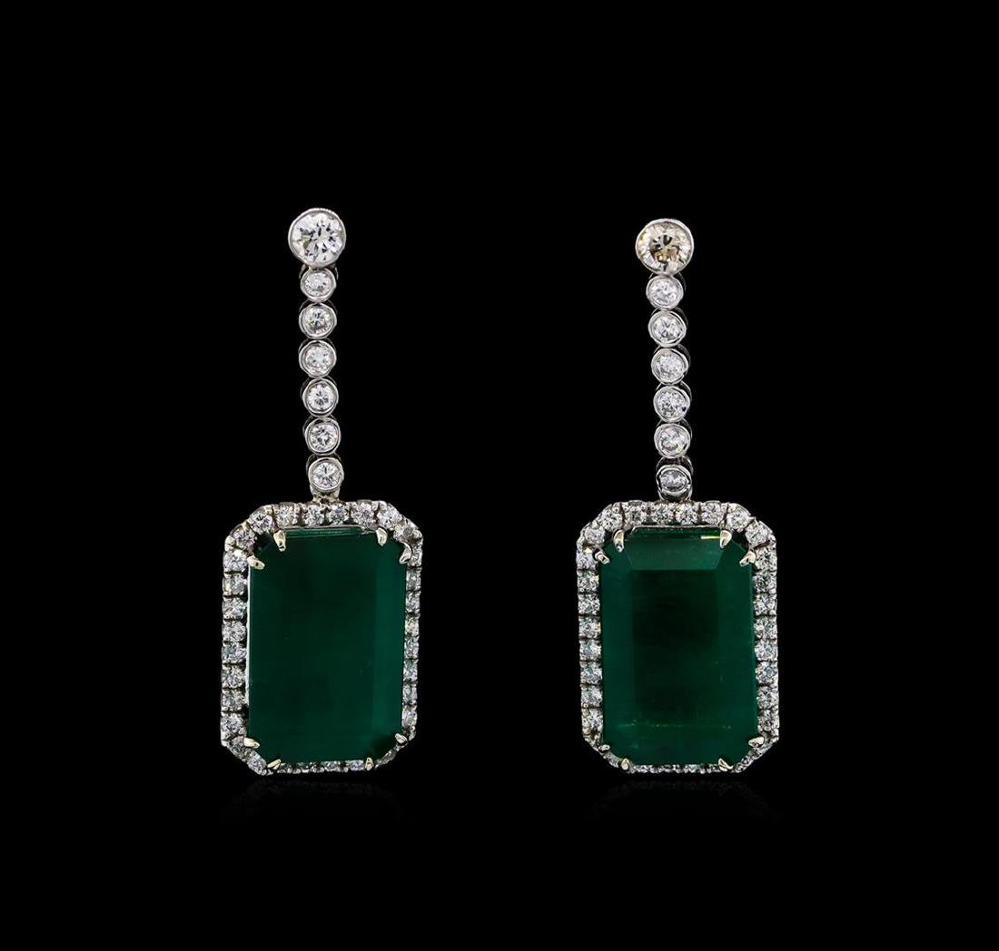 14KT White Gold GIA Certified 30.46 ctw Emerald and