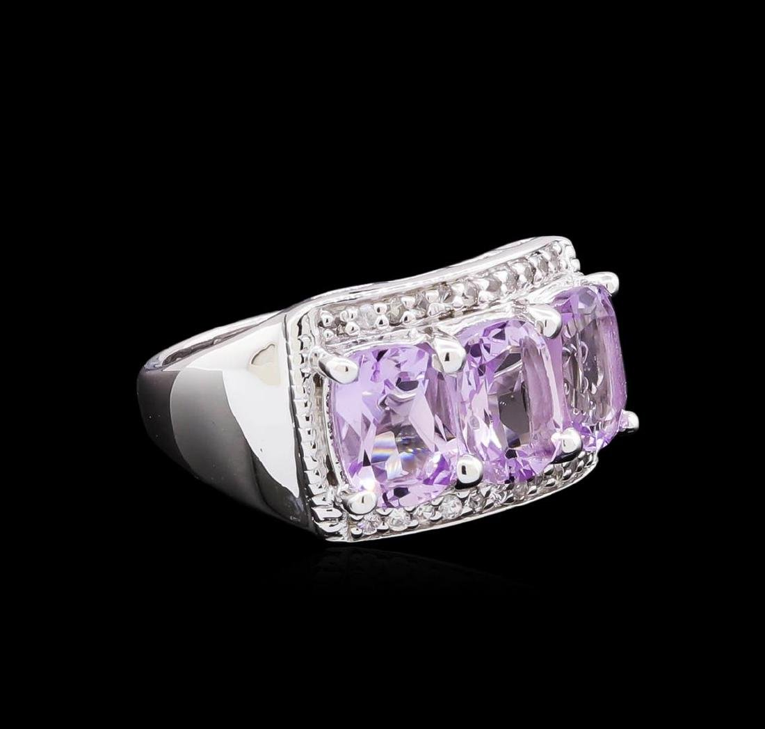 Crayola 2.10 ctw Pink Amethyst and White Sapphire Ring