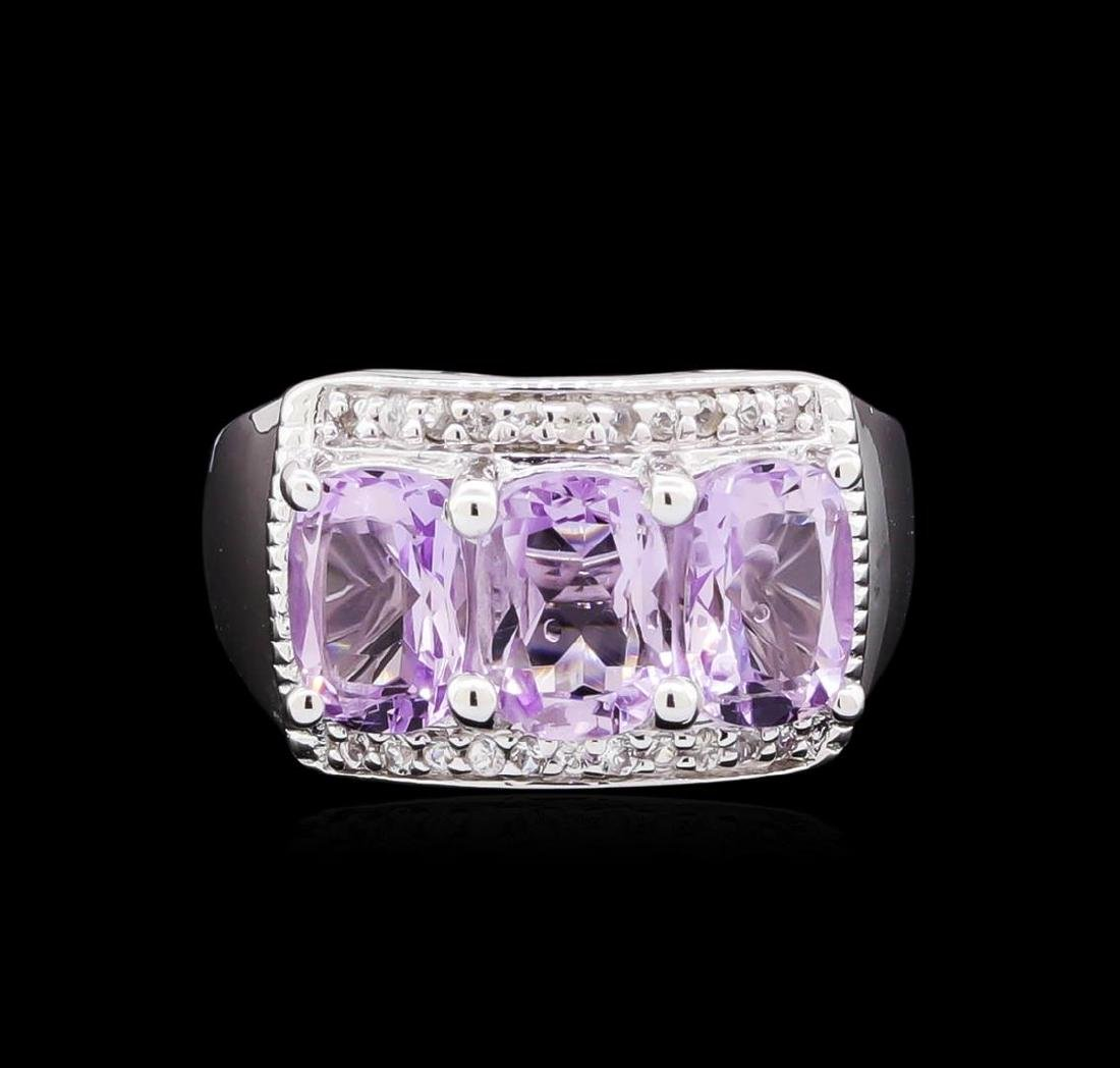Crayola 2.10 ctw Pink Amethyst and White Sapphire Ring - 2