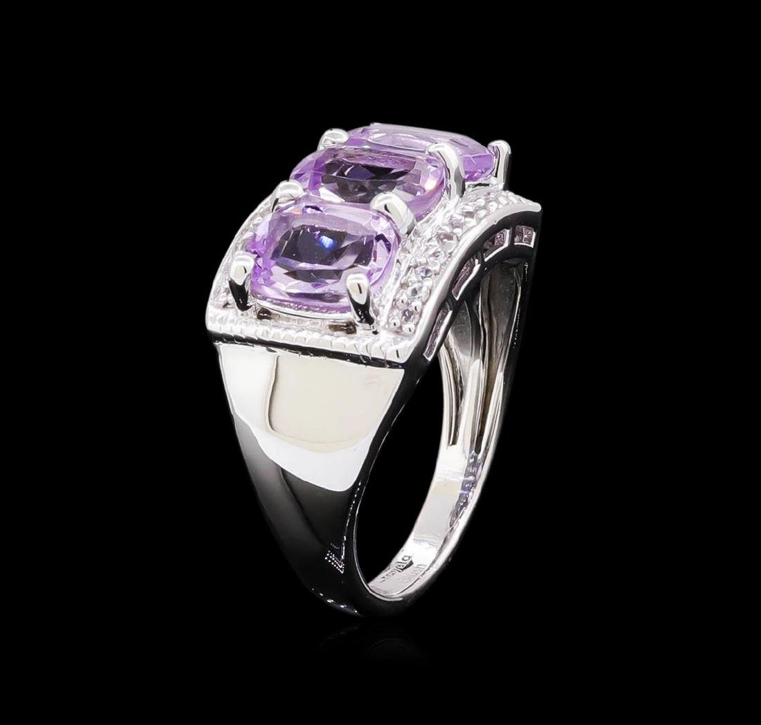 Crayola 2.10 ctw Pink Amethyst and White Sapphire Ring - 4