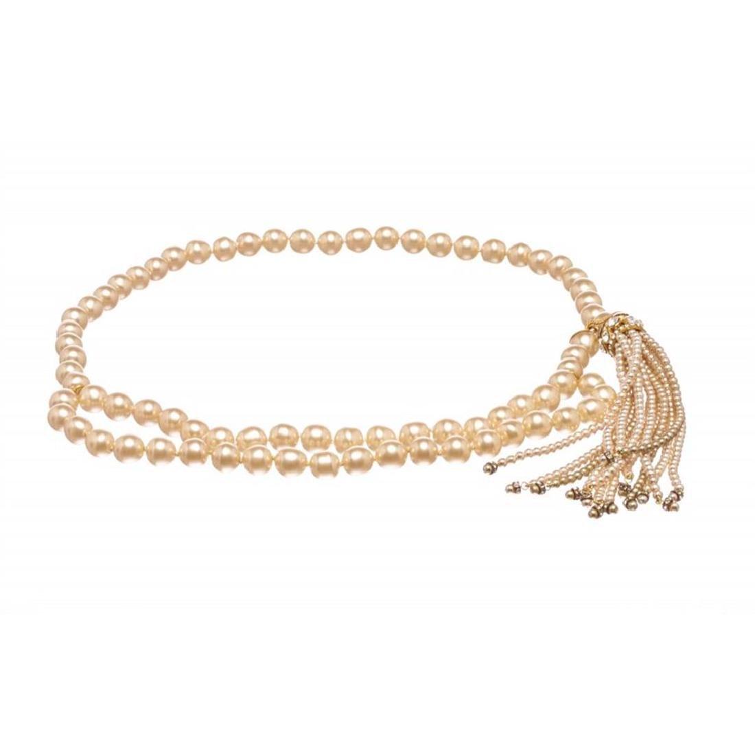 Chanel Faux Large Pearl Strand Tassel Belt