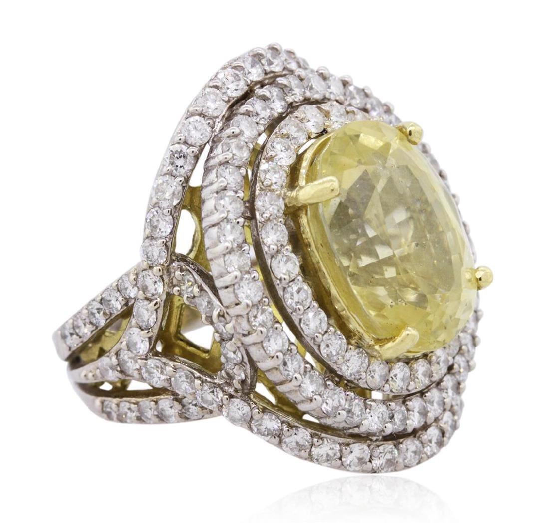 12.47 ctw Yellow Sapphire and Diamond Ring - 18KT