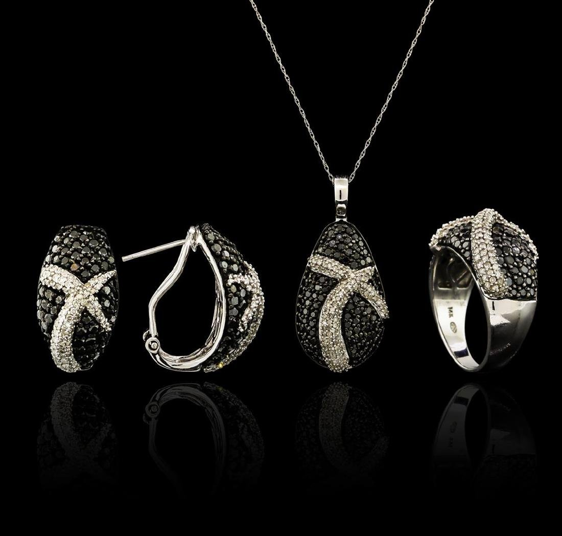 5.45 ctw Black Diamond Pendant and Earrings Set - 14KT