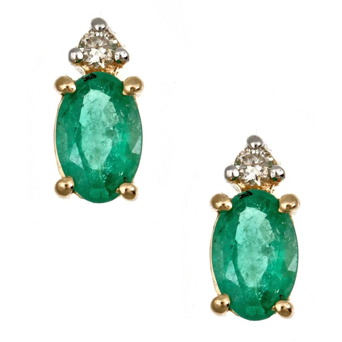 0.83 ctw Emerald and Diamond Earrings - 14KT Yellow and