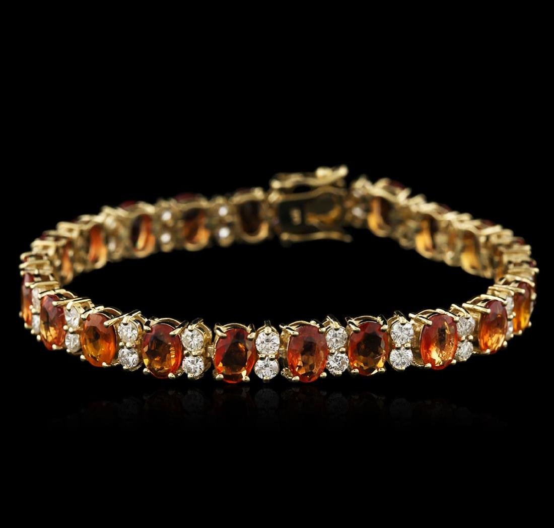 14KT Yellow Gold 16.75 ctw Yellow Sapphire and Diamond
