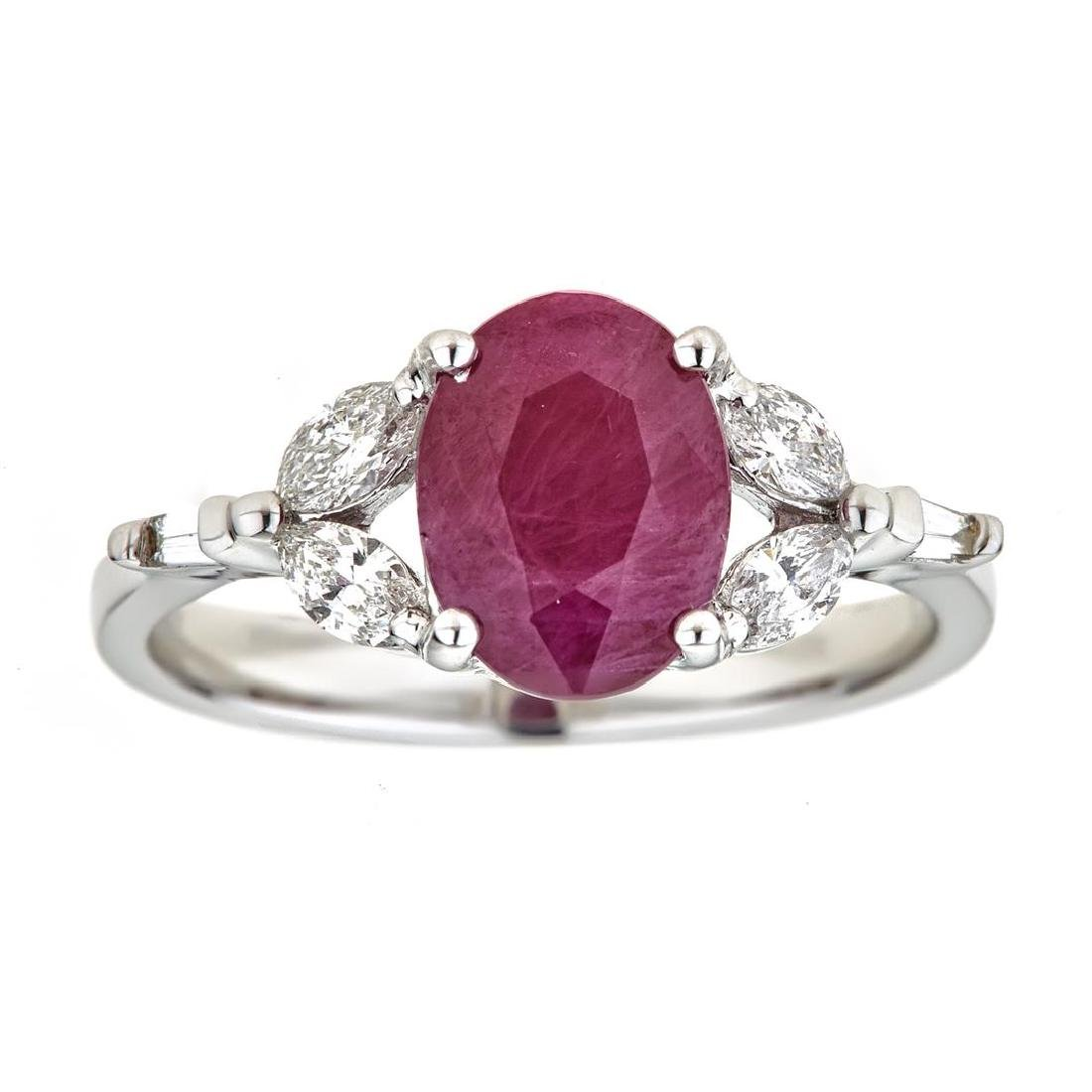 2.98 ctw Ruby and Diamond Ring - 18KT White and Yellow