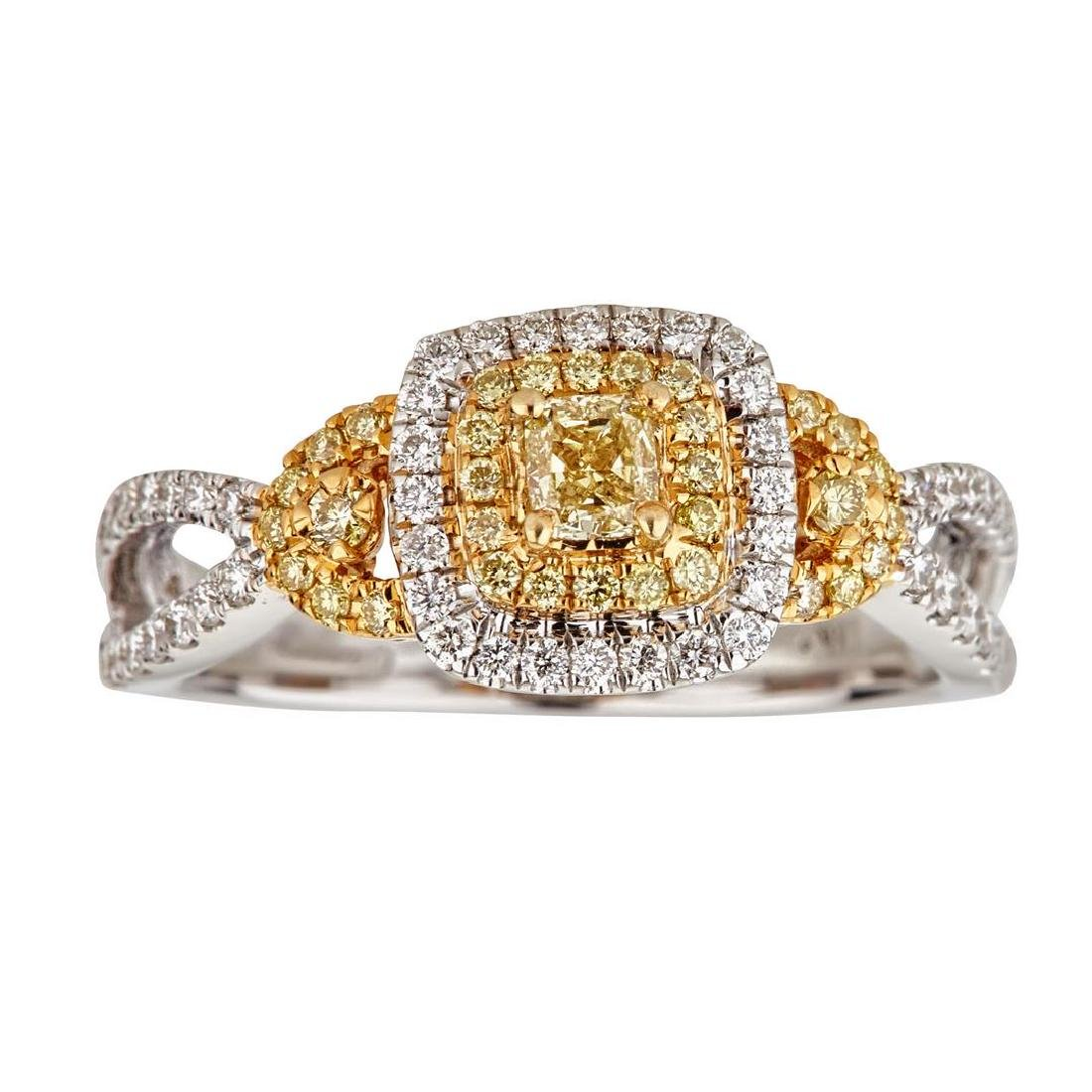 0.74 ctw Yellow and White Diamond Ring - 18KT White and