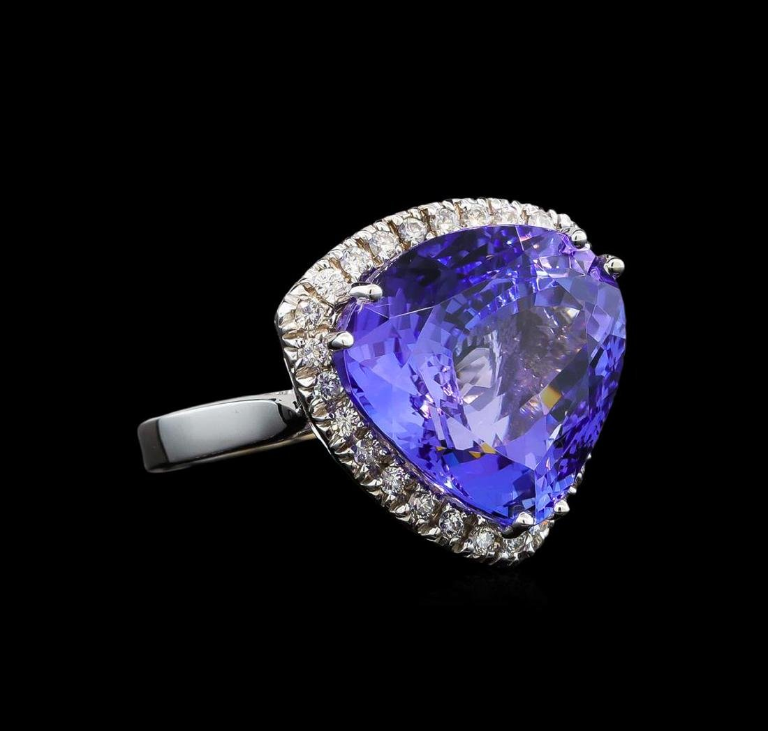 GIA Cert 16.55 ctw Tanzanite and Diamond Ring - 14KT