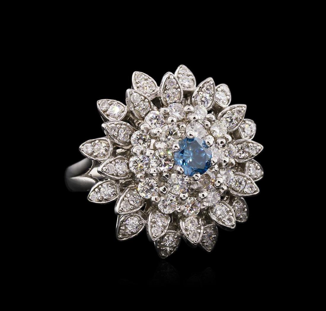 2.28 ctw Fancy Greenish Blue Diamond Ring - 14KT White