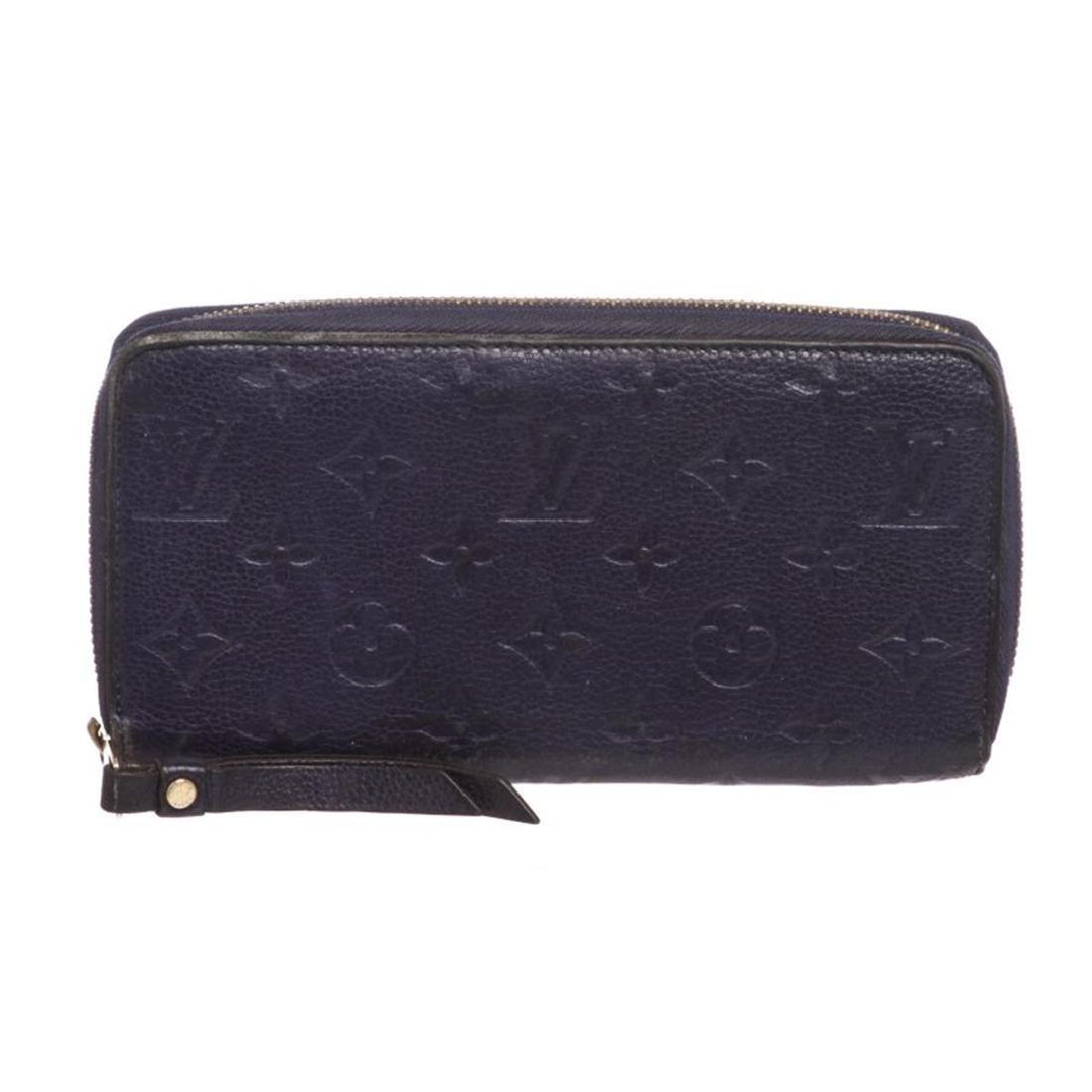 Louis Vuitton Blue Empreinte Leather Monogram Zippy