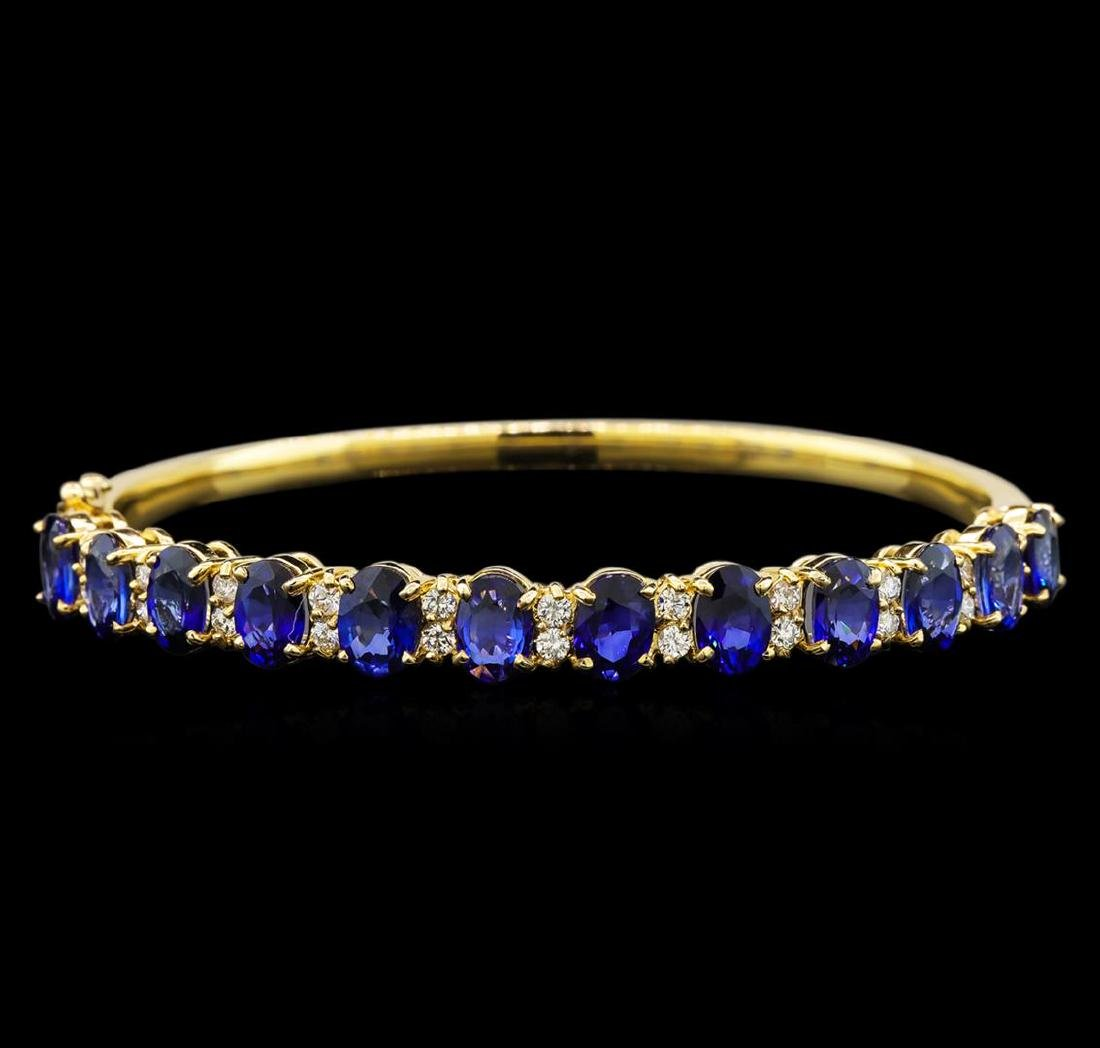 14KT Yellow Gold 11.10 ctw Sapphire and Diamond