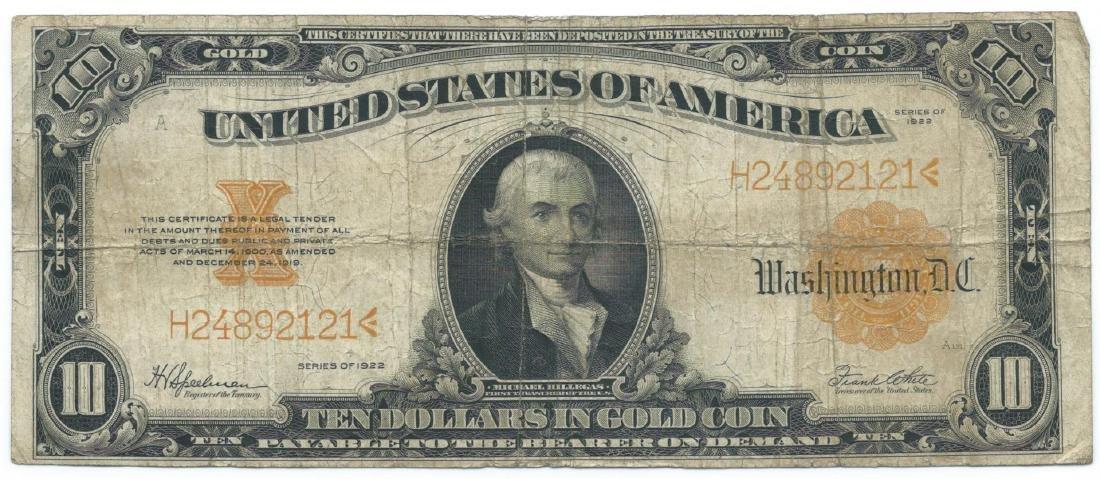 1922 $10 Large Legal Tender Bank Note