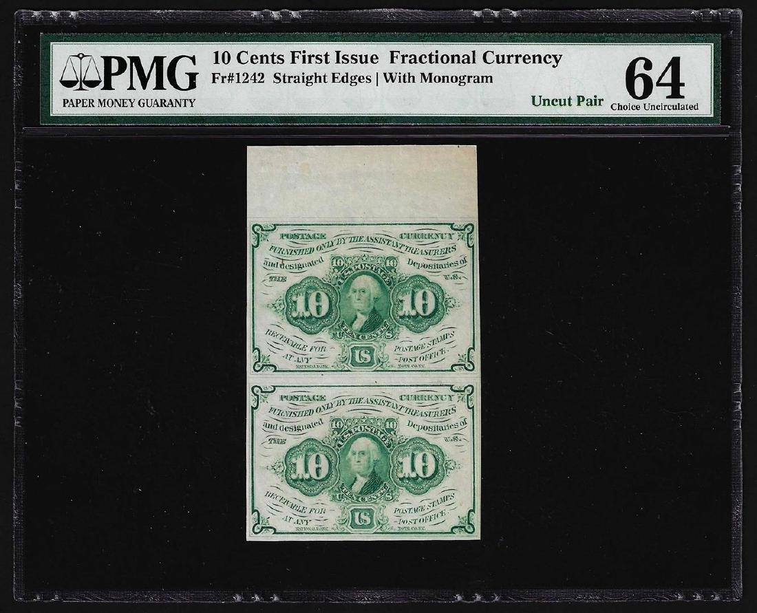 Uncut Pair of 1862 Ten Cents First Issue Fractional