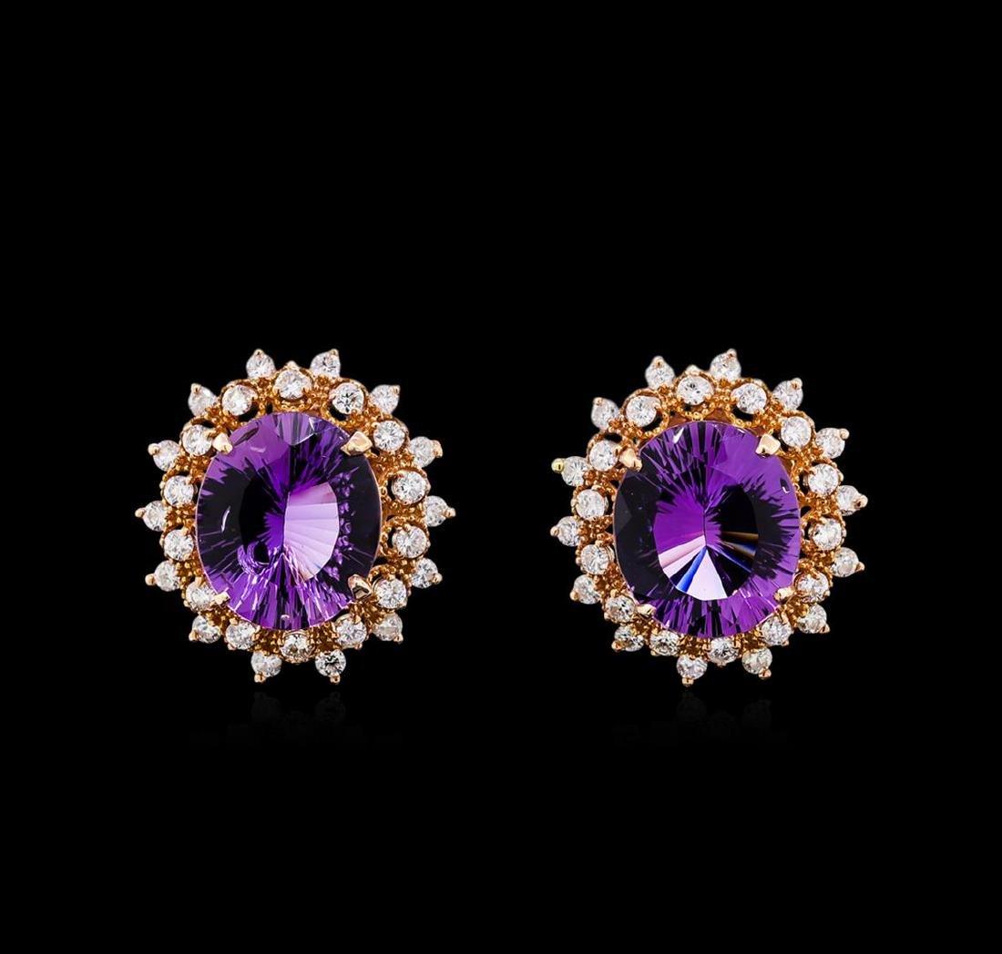 12.00 ctw Amethyst and Diamond Earrings - 14KT Rose